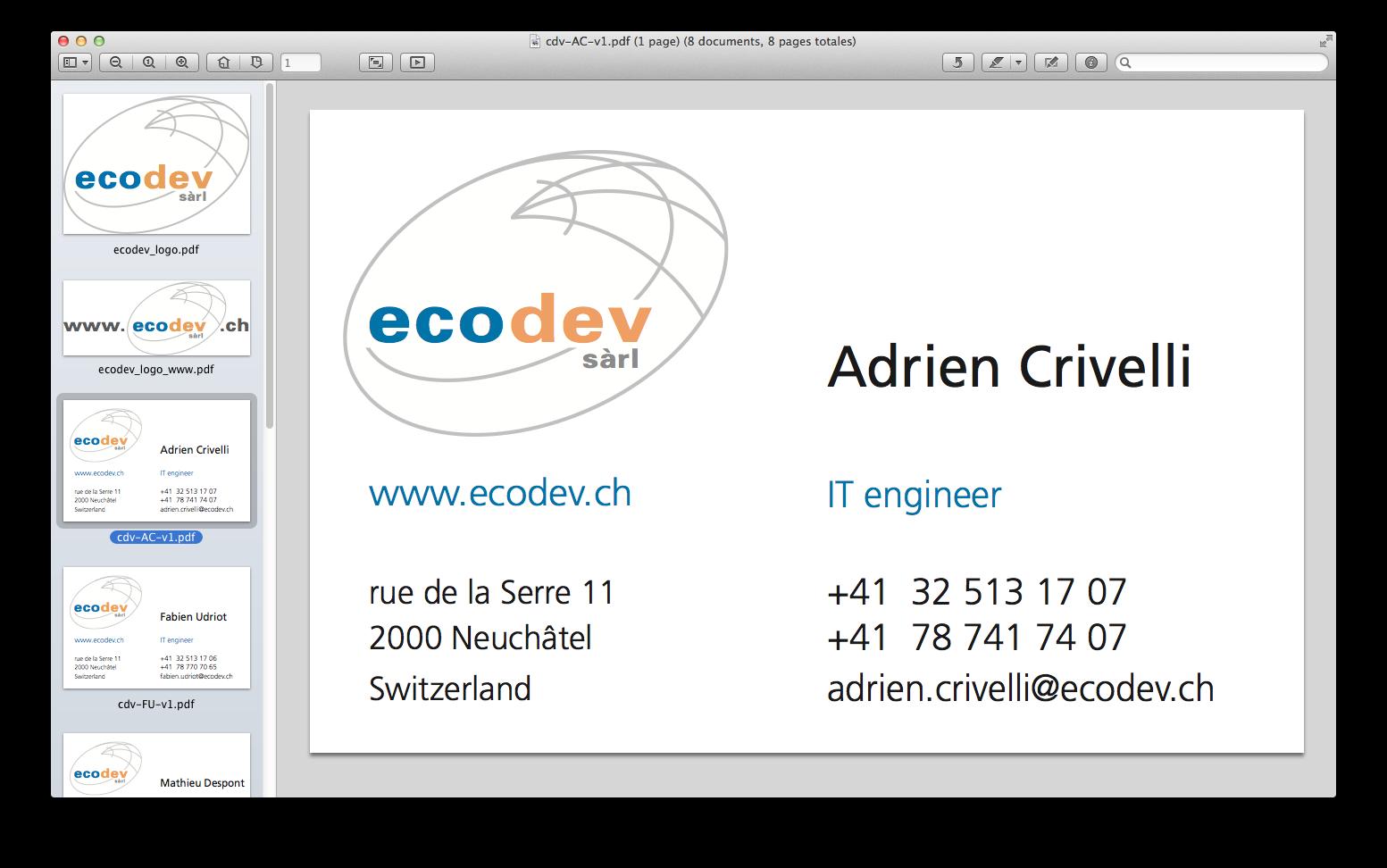 Ecodev - carte de visites