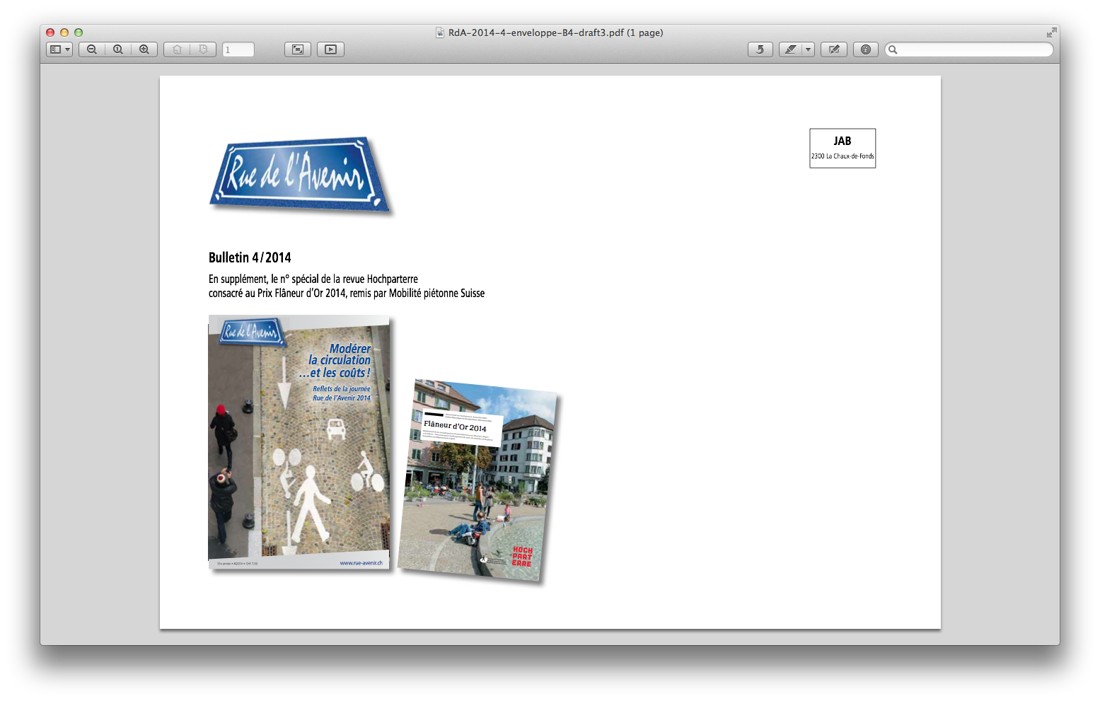 Bulletin Rue de l'Avenir - enveloppe